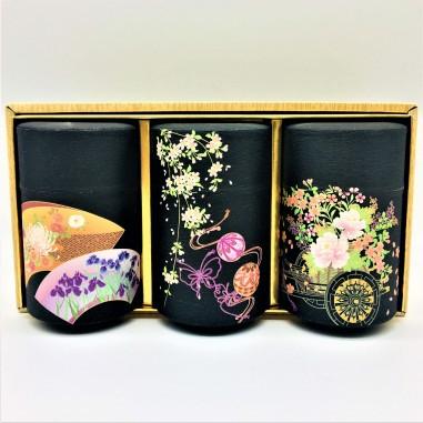 """Juego 3 Latas Japonesas """"Flores"""" 150 gr. Doble tapa"""