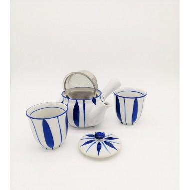 Juego de té Flor Azul, set 3 piezas porcelana